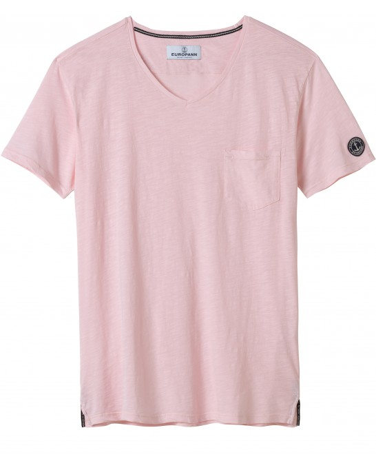TEE SHIRT COL V NECK ROSE