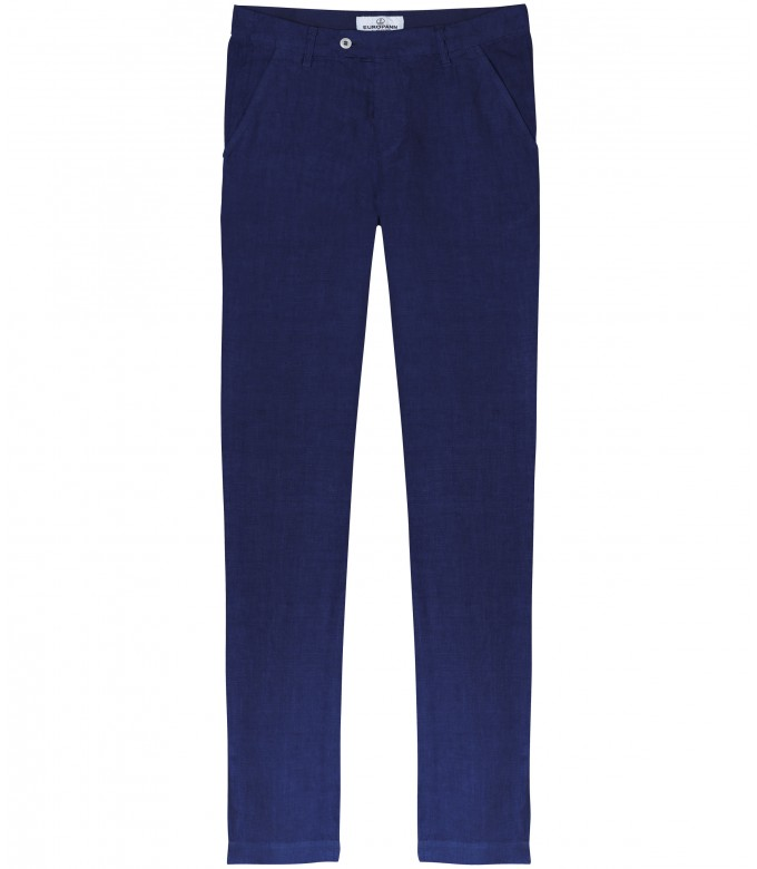 DYLAN - Casual linen pants, ink blue