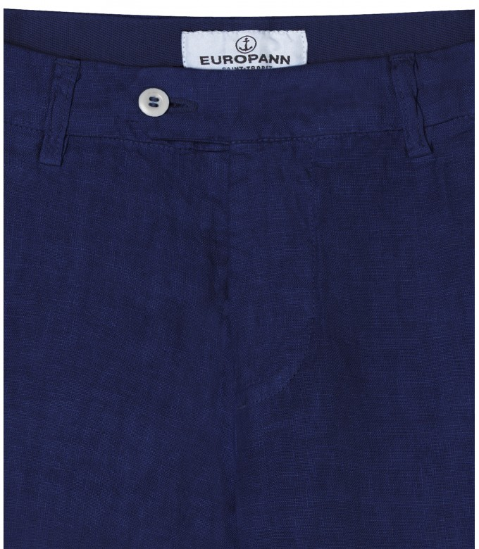 DYLAN - Casual linen trousers, navy blue