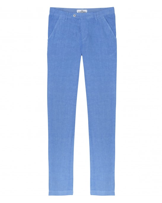 DYLAN - Casual linen trousers, ocean blue