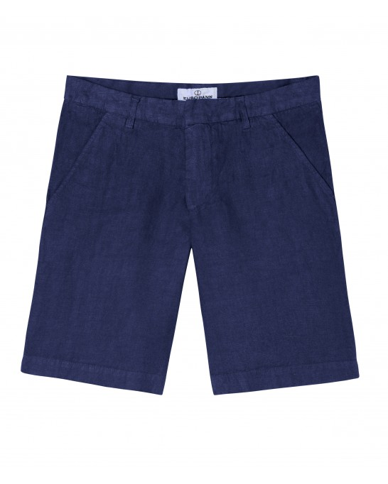 CASUAL NAVY BLUE LINEN BERMUDAS COLORADO