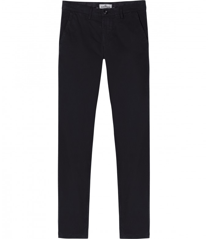 FLASH - Slim fit cotton chinos, black