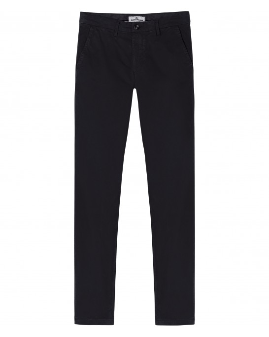 STRETCH-COTTON BLACK CHINO PANTS FLASH