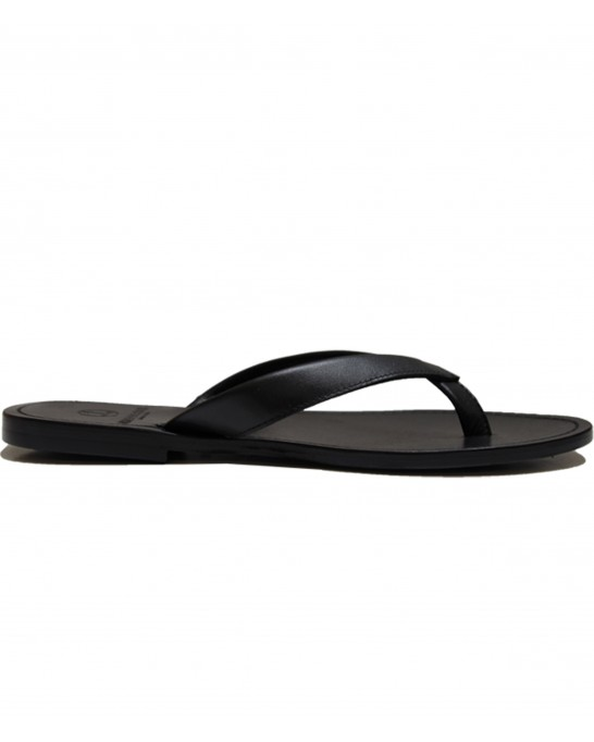 MILANELLO - High quality leather flip flops, black