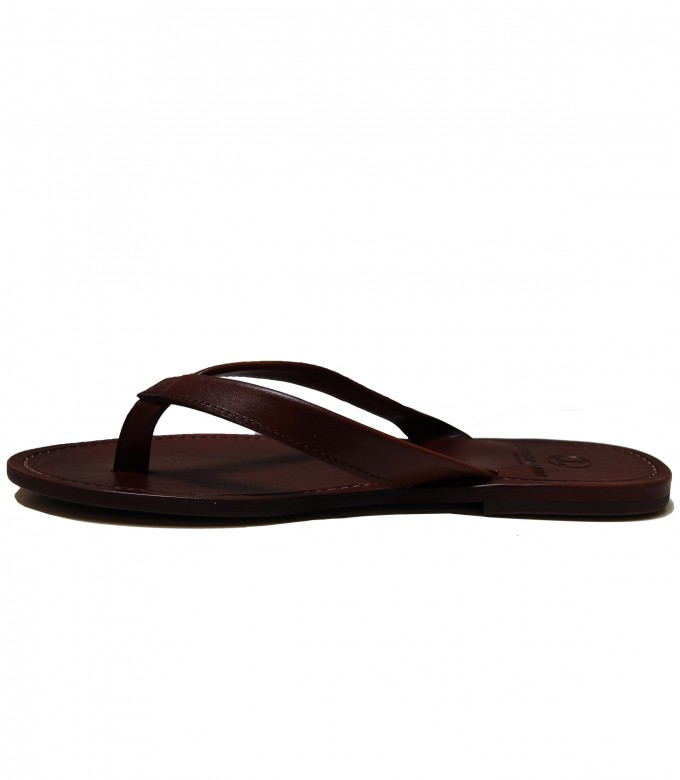 LEATHER FLIP FLOPS MILANELLO BROWN