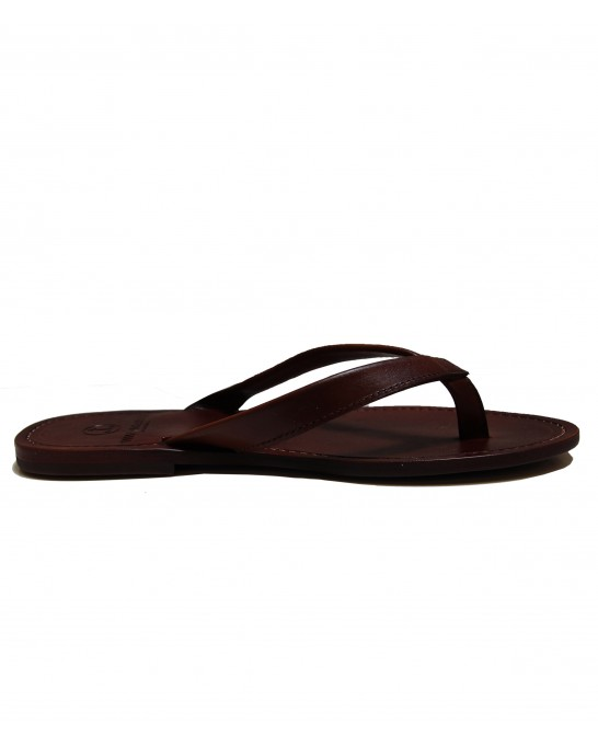 MILANELLO - High quality leather flip flops, brown
