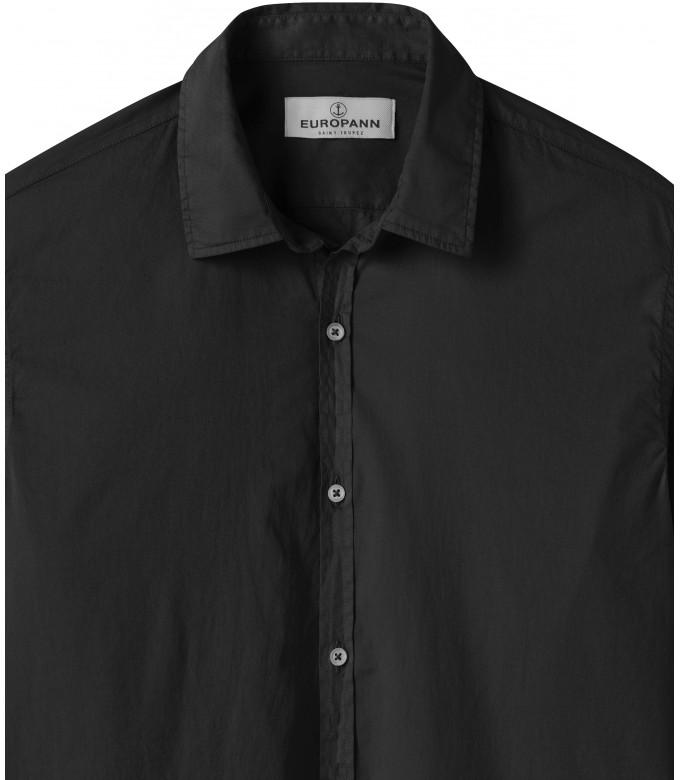 VARDY - Chemise en voile de coton unie décontractée, noir
