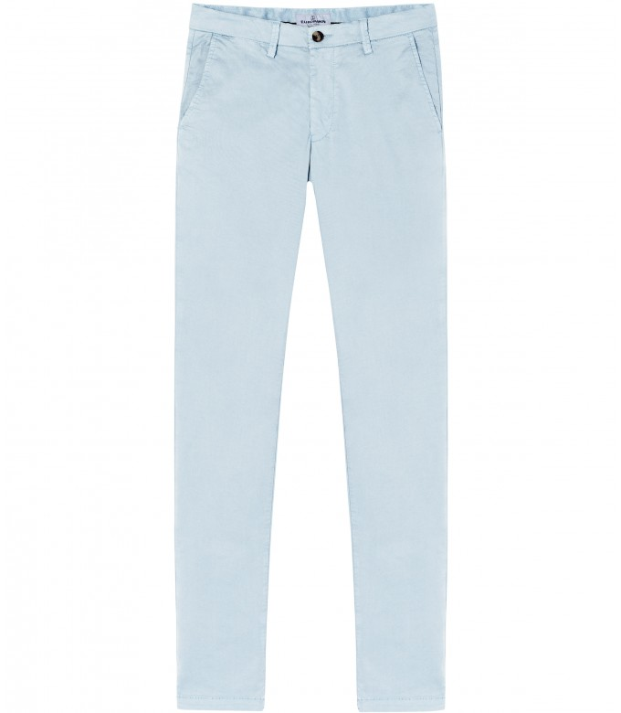 FLASH - Slim fit cotton chinos, light blue