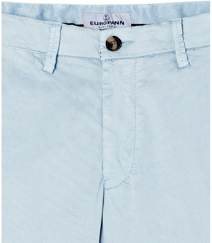 STRETCH-COTTON SKY BLUE CHINO PANTS FLASH