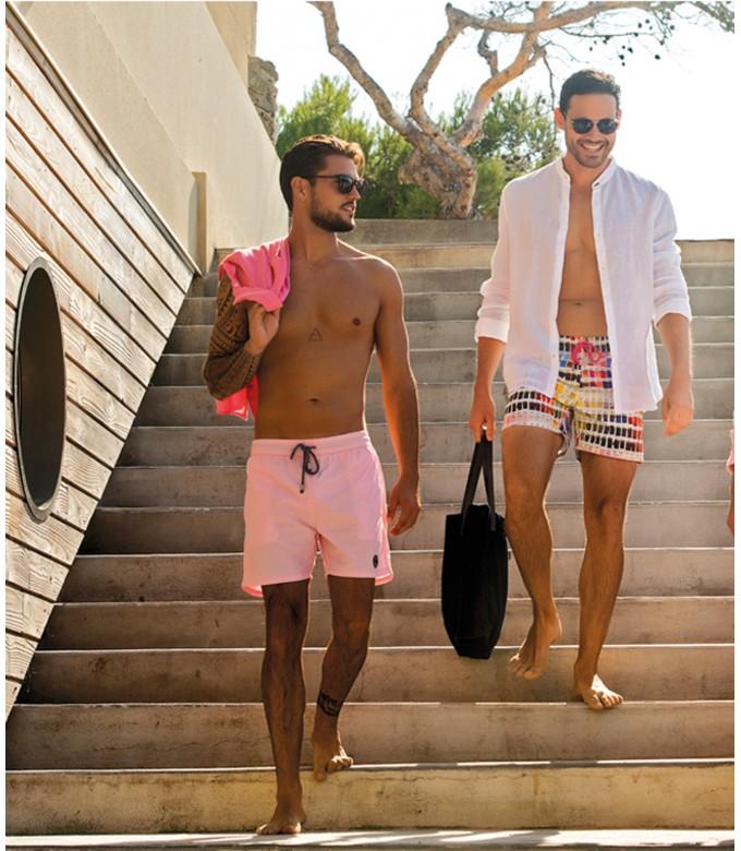 BORNEO- Short de bain imprimé pantone, rose