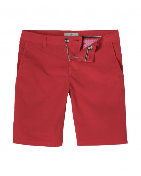 RED SLIM FIT COTTON BERMUDAS TEXAS