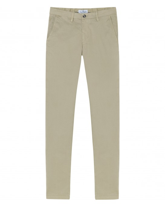 STRETCH-COTTON BEIGE CHINO PANTS FLASH
