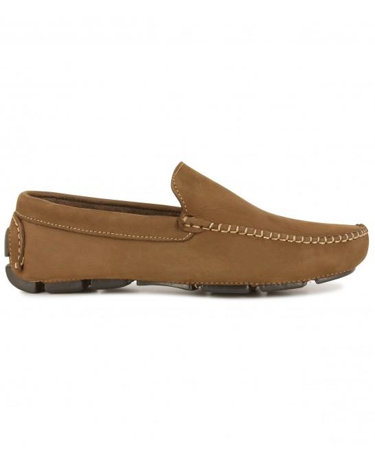 MONZA -  Nubuck loafers, cognac