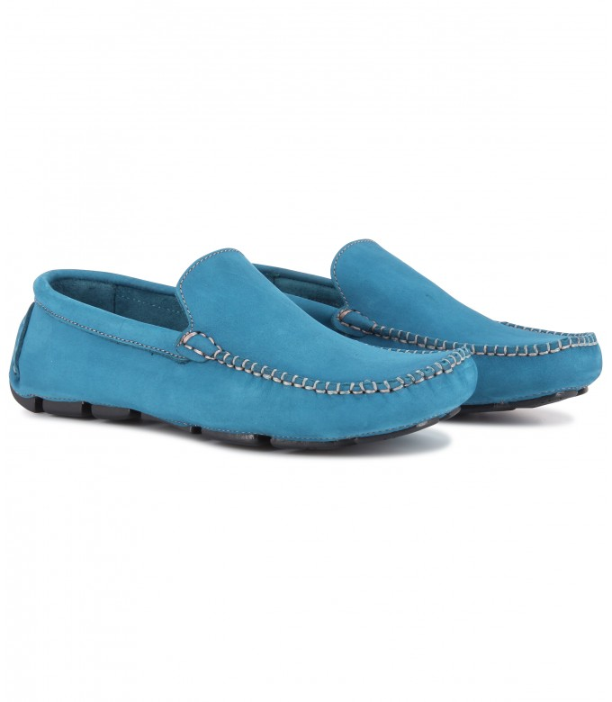 MONZA - Blue nubuck loafers