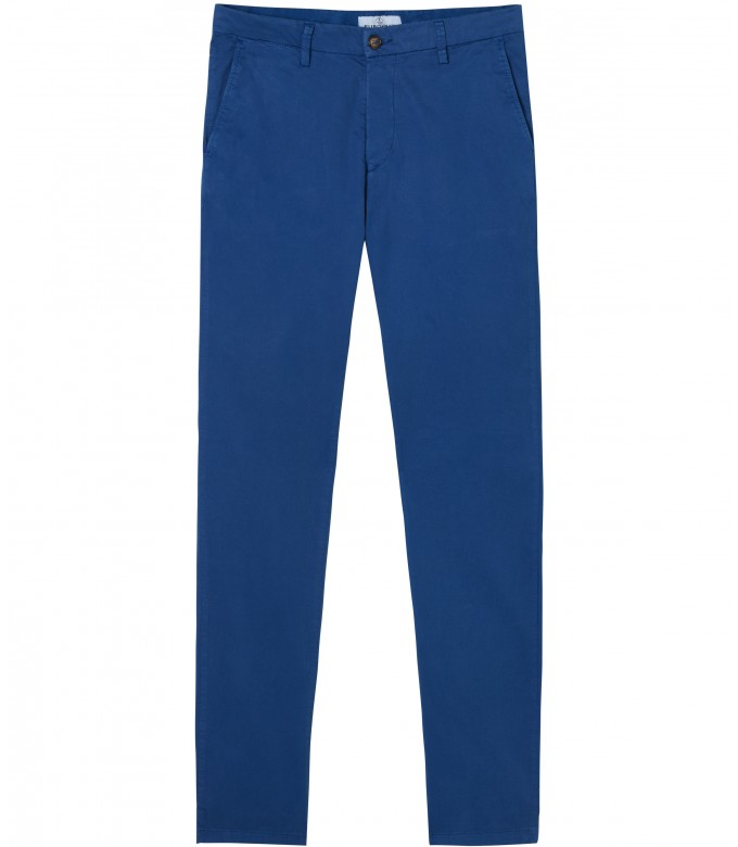 FLASH - Slim fit cotton chinos, klein blue