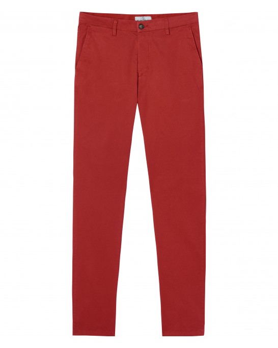 STRETCH-COTTON RED CHINO PANTS FLASH