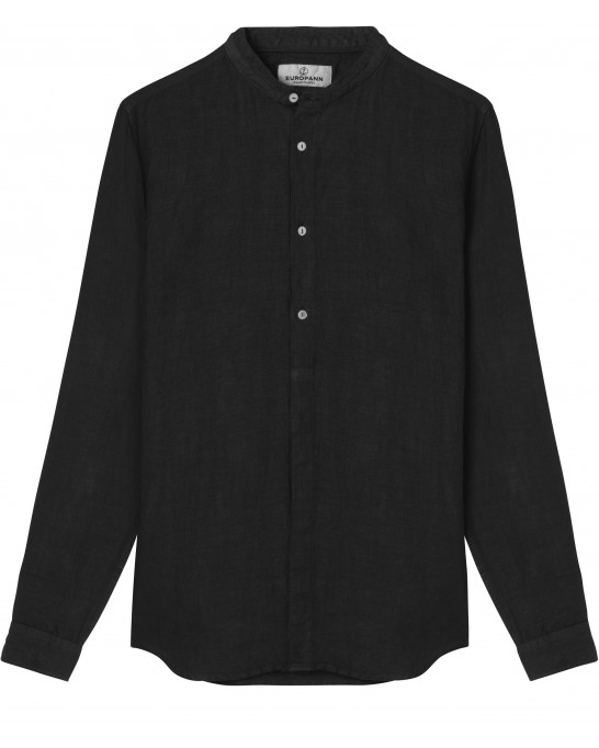 STAN - Linen decontract shirt Mao collar, black