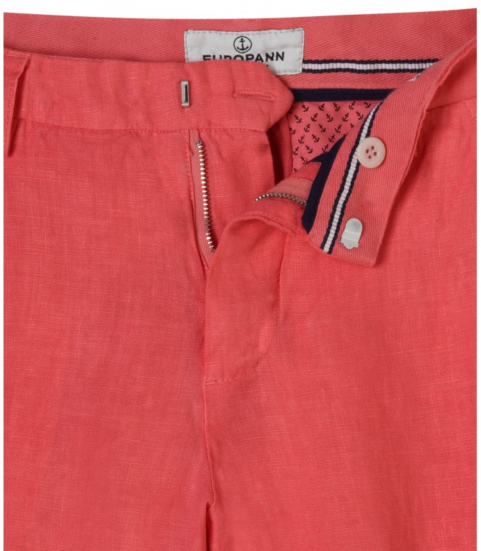 CASUAL RED LINEN BERMUDAS COLORADO