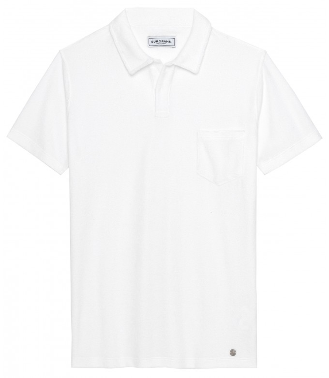 MITCH - Towelling white polo shirt
