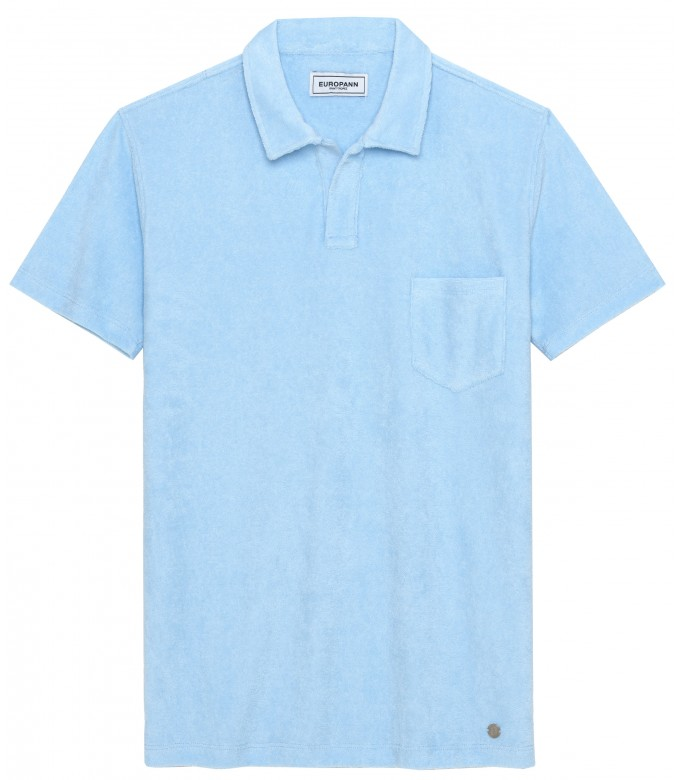 MITCH - Towelling sky blue polo shirt