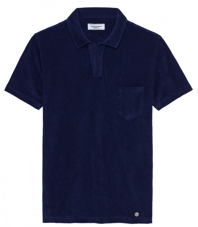 MITCH - Towelling navy blue polo shirt