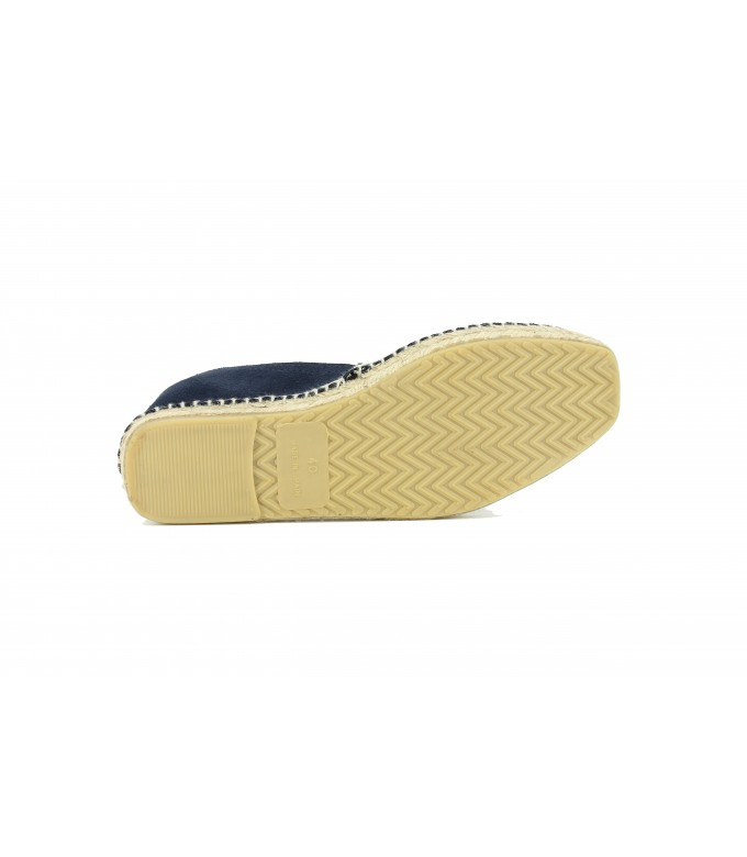 LEATHER CRUST ESPADRILLES PALMA NAVY BLUE