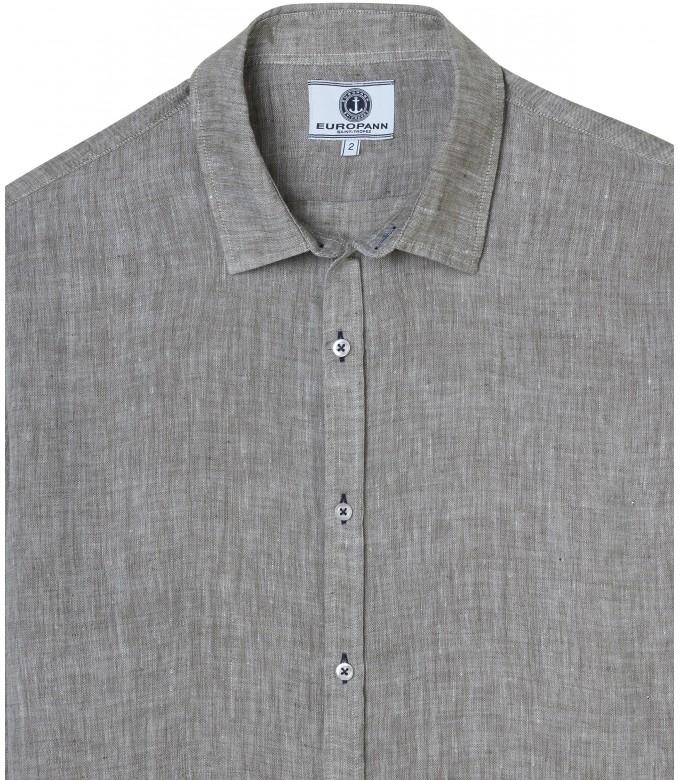 JONAS - Plain linen shirt kaki