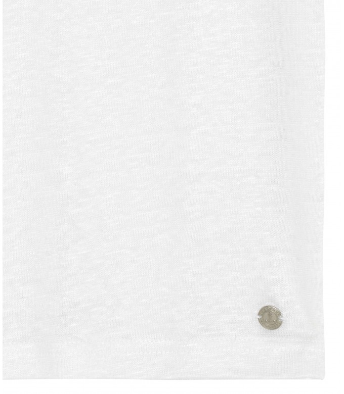 PLAINED LINEN POLO LUKE WHITE