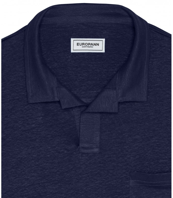 PLAINED LINEN POLO LUKE NAVY BLUE