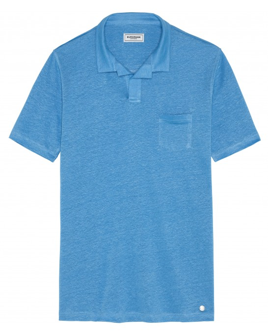 PLAINED LINEN POLO LUKE OCEAN BLUE
