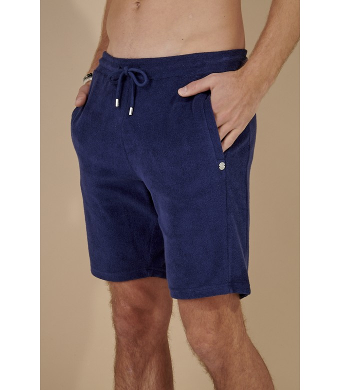 NAVY BLUE SPONGE JOGGING SHORTS NOAH