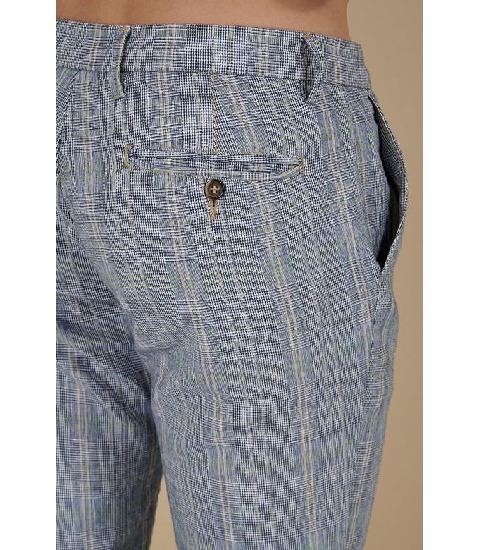 CHECK PANTS PHIL NAVY BLUE