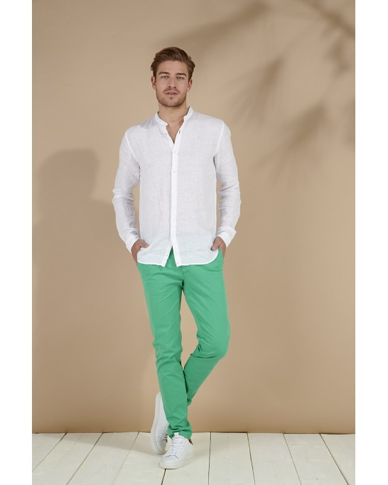 CHEMISE LIN COL MAO STAN BLANCHE