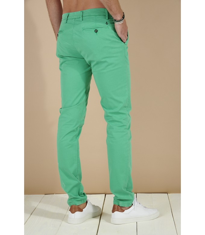 FLASH - Slim fit cotton chinos trousers, green