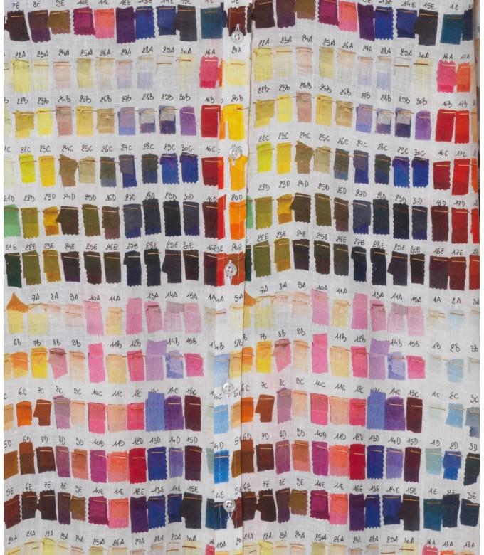 ROSS - Chemise en lin regular à imprimé couleurs pantones rose
