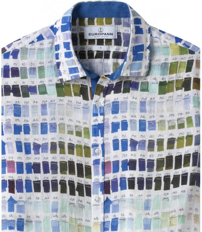 ROSS - Chemise en lin regular à imprimé couleurs pantones blanche