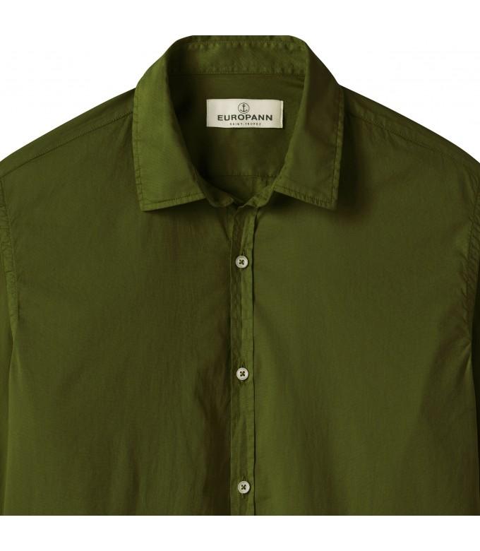 VARDY - Casual cotton-voile shirt, kaki