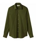 VARDY - Casual kaki cotton voile shirt