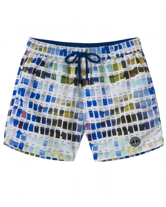 BORNEO - Pantone printed swim shorts, white