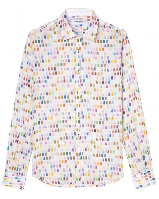 NAILS - Chemise lin imprimé peinture multicolore