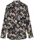 FLOWER - Cotton navy blue flower printed shirt