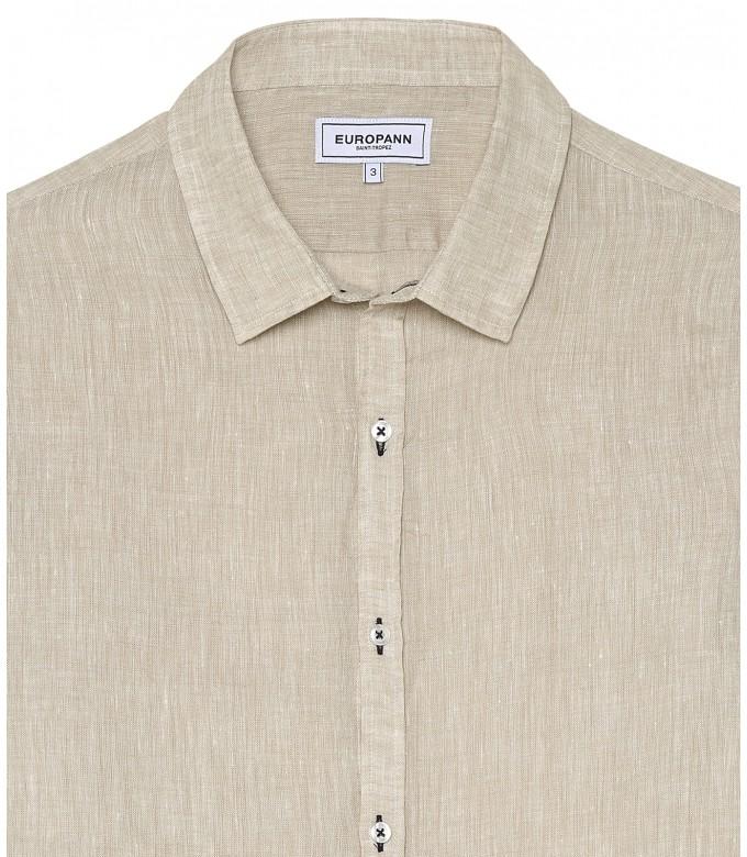 JONAS - Plain beige linen shirt
