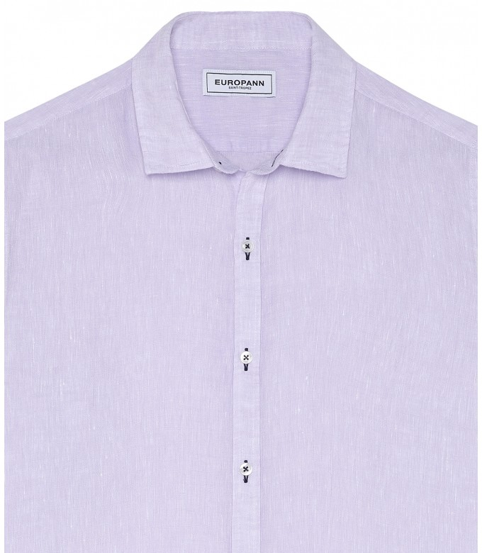 JONAS - Plain lila linen shirt