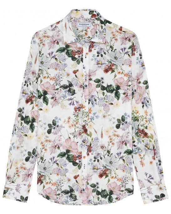 FLOWER - Cotton ecru flower printed shirt