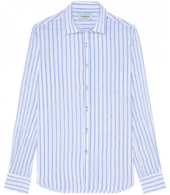 TENNIS -Linen striped shirt white