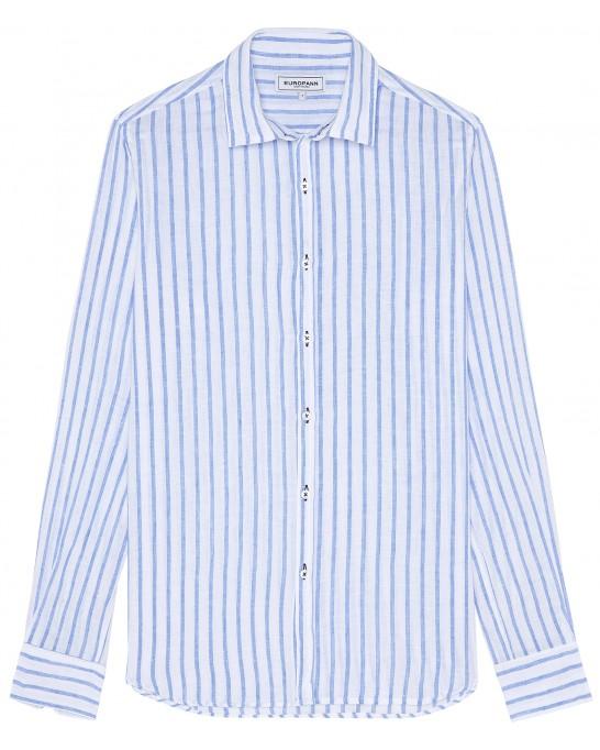 TENNIS -Linen striped shirt white