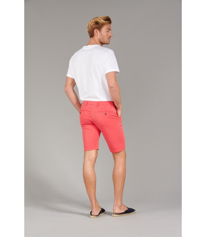 TEXAS - Bermuda chino slim uni, rouge