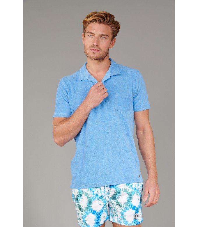 TOWELLING POLO MITCH OCEAN BLUE