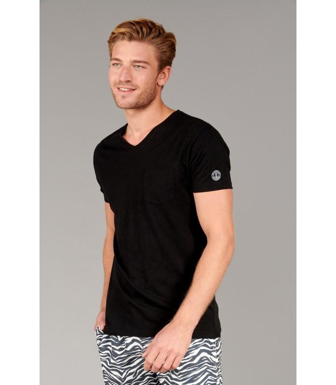 NECK - Cotton V-neck tee-shirt, black