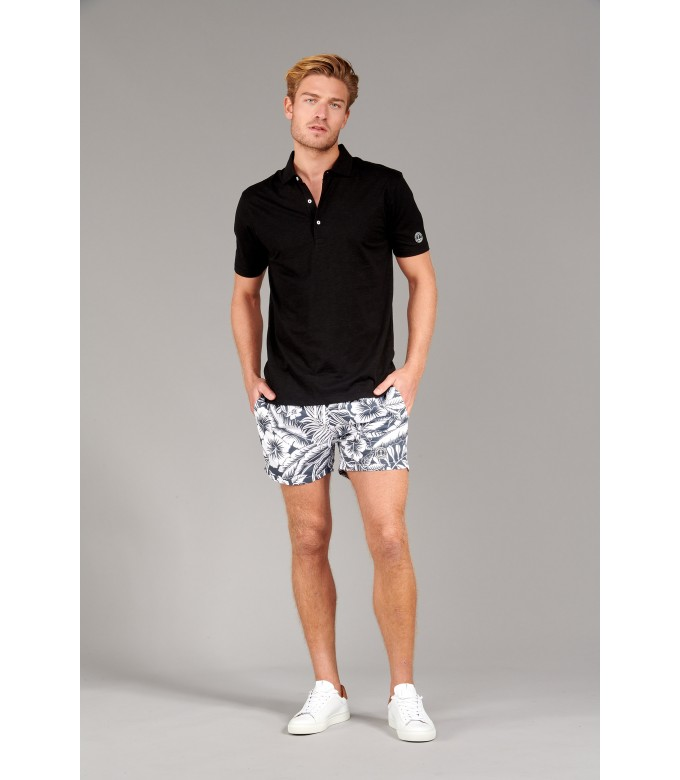 WESTON - Cotton jersey polo shirt, black